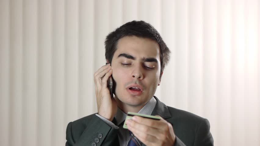 Businessman order with a smartphone