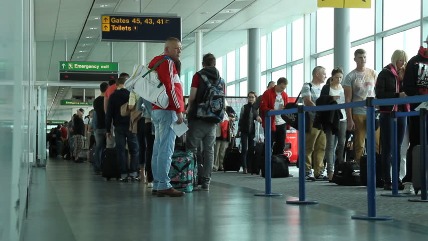 London - circa September 2013. People wait at airport gate to board flight. | Shutterstock HD Video #5123759