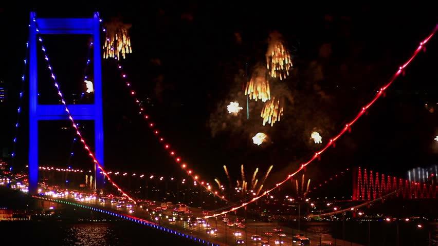 Bosphorus, Istanbul New Year Eve - Superimposed