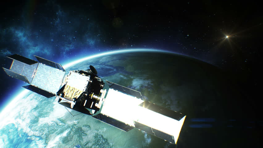 Beautiful view of Satellite Orbiting the Earth. HD 1080.