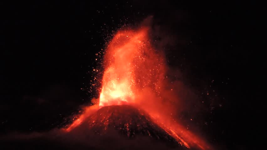 Volcano Etna eruption, Sicily, Italy 28 november 2013.