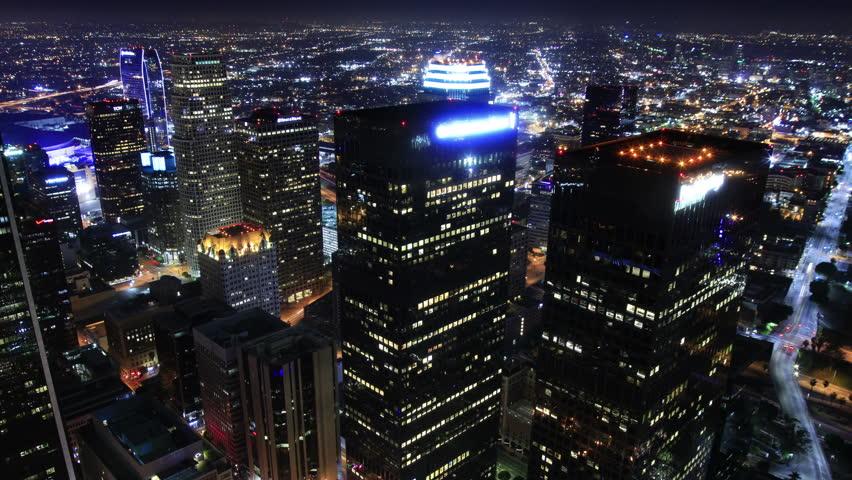 4K Night Cityscape Timelapse 180 Los Angeles Freeway Traffic Tilt Down | Shutterstock HD Video #5153732