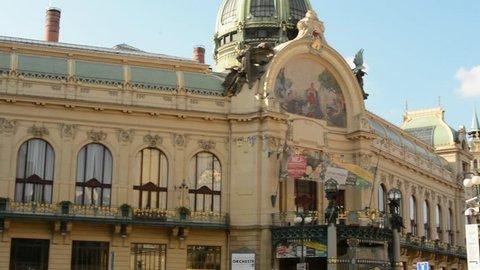 PRAGUE, CZECH REPUBLIC - SEPTEMBER 2013: Prague's Municipal House: from the outside