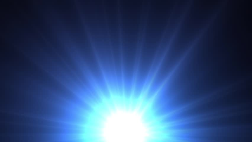 Light shining blue star with long rays