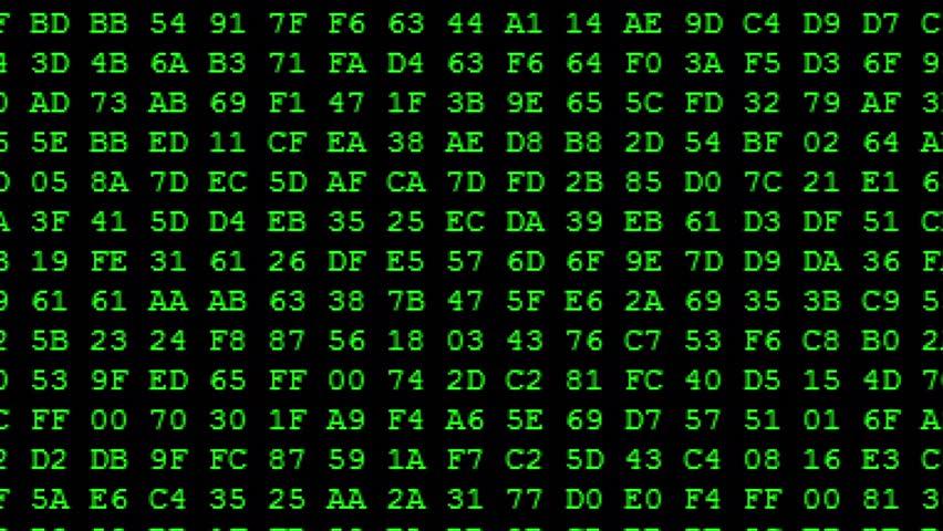 Green Hexadecimal code running up a computer screen. Green digits. Close-up shot.