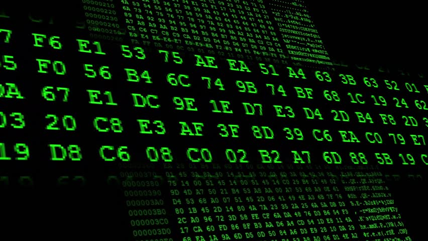 Green Hexadecimal code running up a computer screen. Green digits. Close-up shot. With the frame in the middle. Search for a specific code