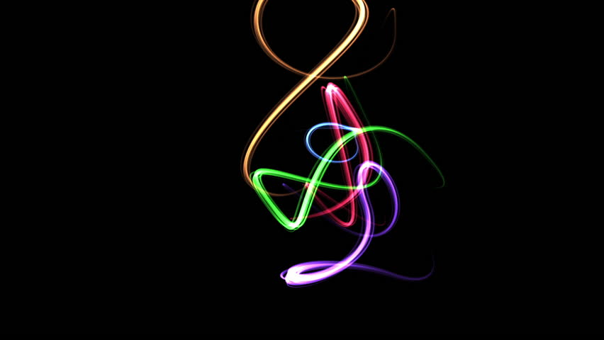 Randomly moving light streaks in neon colors.  Animation created in After