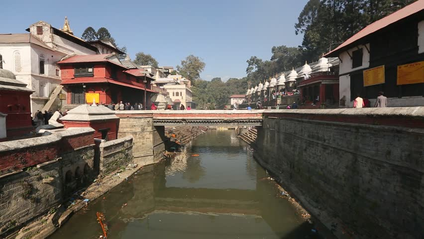 Bagmati River in Bhasmeshvar Ghat at Pashupatinath temple in Kathmandu, Nepal.