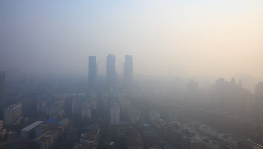 Air pollution in China, bird view of Fuzhou city under haze | Shutterstock HD Video #5211320