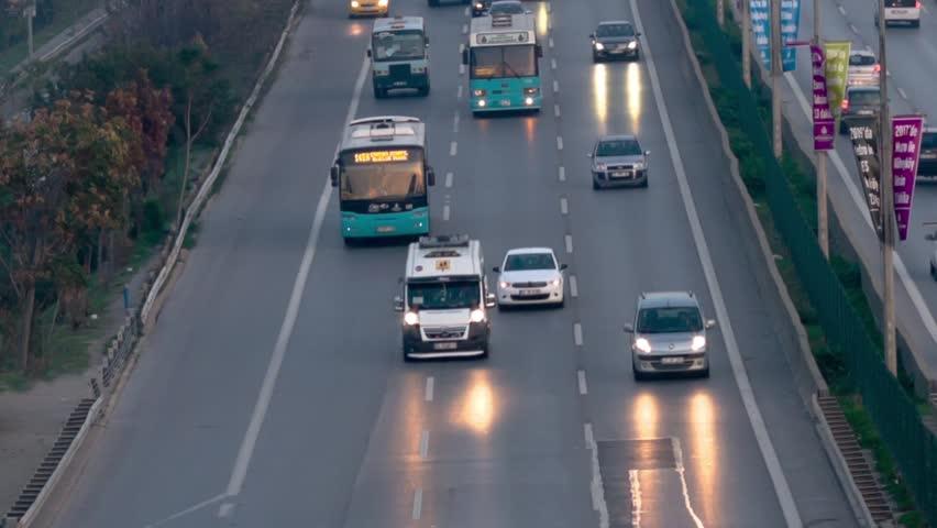 Busy car traffic on Ankara Yolu autobahn. High quality RAW Record
