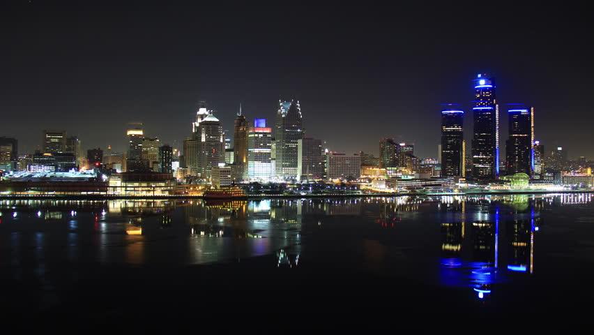 DETROIT - CIRCA NOVEMBER 2013: City skyline during a cold winter at night circa November 2013 in Detroit, Michigan.