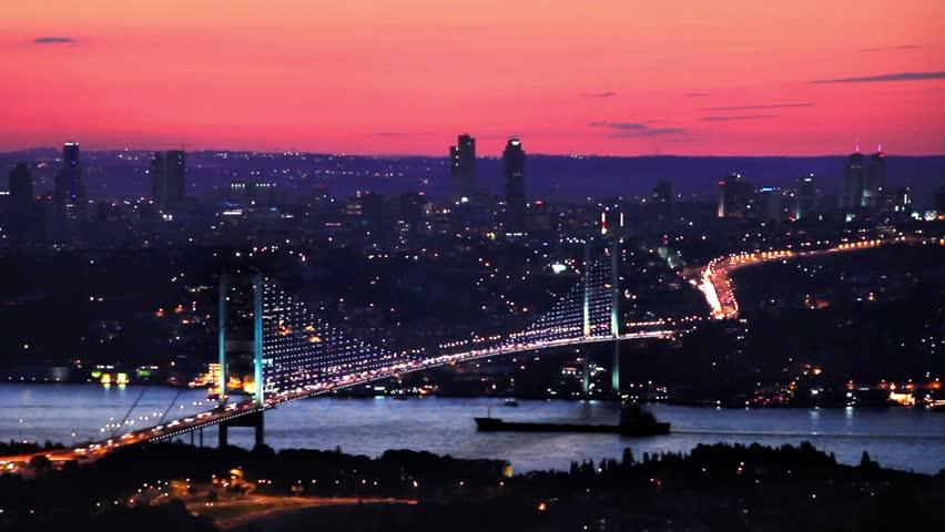 Istanbul Bosphorus Bridge on Sunset. HD, Timelapse Video.