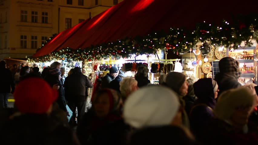 PRAGUE, CZECH REPUBLIC - DECEMBER 2013: Old Town Square - Christmas markets with people - in night  #5228375