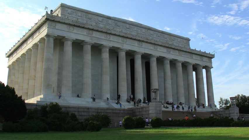 Lincoln Memorial Building Time Lapse Zoom Out. The exterior of the building