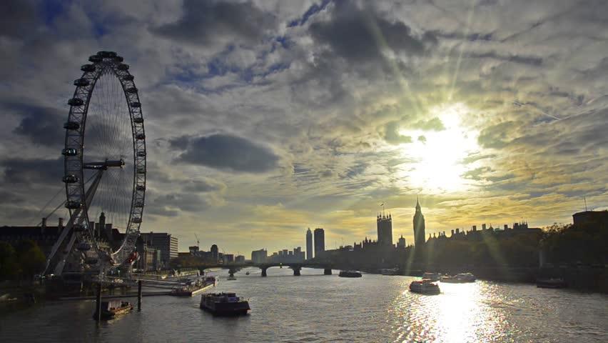 LONDON, UNITED KINGDOM - DECEMBER 2, 2013:  Boats passing along Thames river