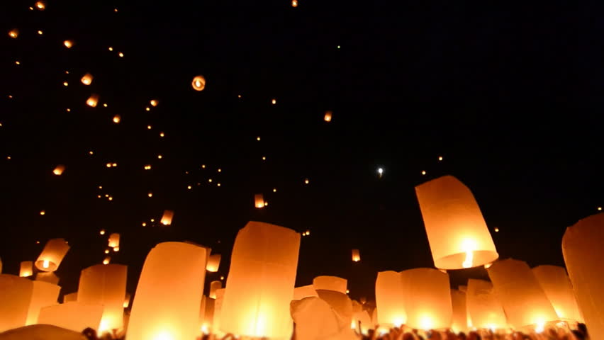 Loi Krathong Festival And Many Fire Lanterns Floating Of Chiang Mai Thailand 2013 (no sound)
