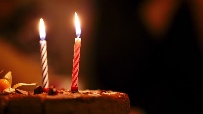 Excellent Two Candles On Birthday Cake Stock Footage Video 100 Royalty Funny Birthday Cards Online Sheoxdamsfinfo