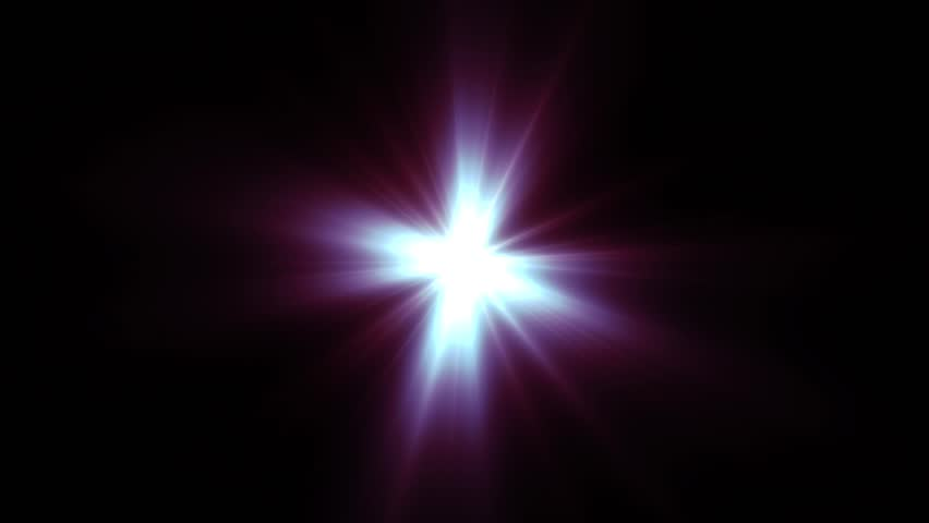 Light shining red star with long rays
