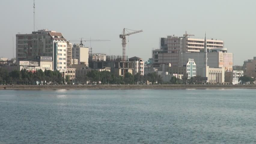 BANDAR ABBAS, IRAN - 31 OCTOBER 2013: Promenade and shoreline of Bandar Abbas, a city in Iran on the Persian Gulf