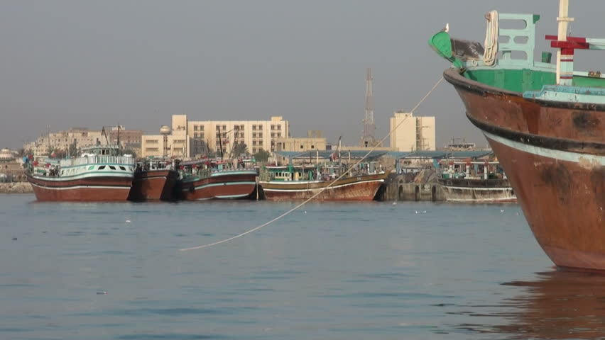 BANDAR ABBAS, IRAN - 31 OCTOBER 2013: Bow of a traditional 'lenj' fishing boat, in the port of Bandar Abbas along the Persian Gulf, Iran