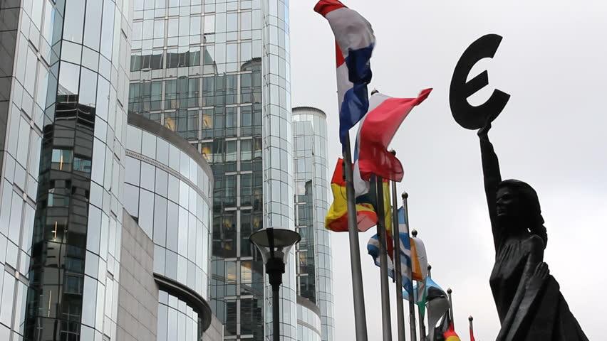 European Union representative statue, countries flags move, Parliament building   Shutterstock HD Video #5267351