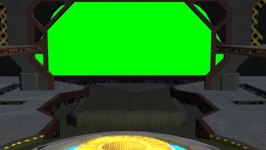animated spaceship hangar green screen video footage