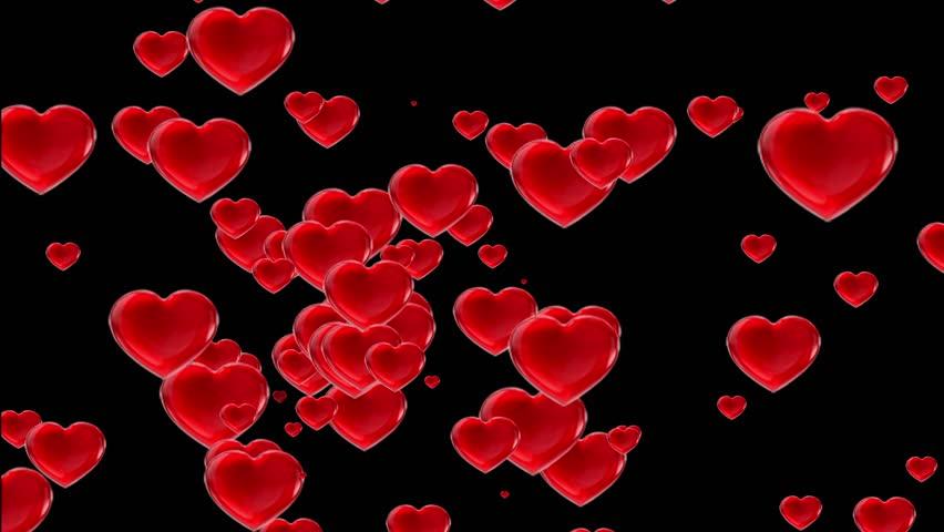 Red Valentines Love Hearts Black Background Computer Designed Animation quad ultra hd 4k #5274797