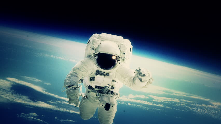 An astronaut stationed at the International Space Station goes on a spacewalk. (Elements furnished by NASA)