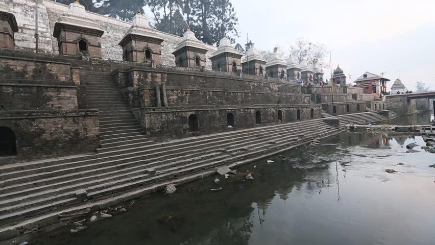 Bhasmeshvar Ghat at Pashupatinath temple and Bagmati River in Kathmandu, Nepal.