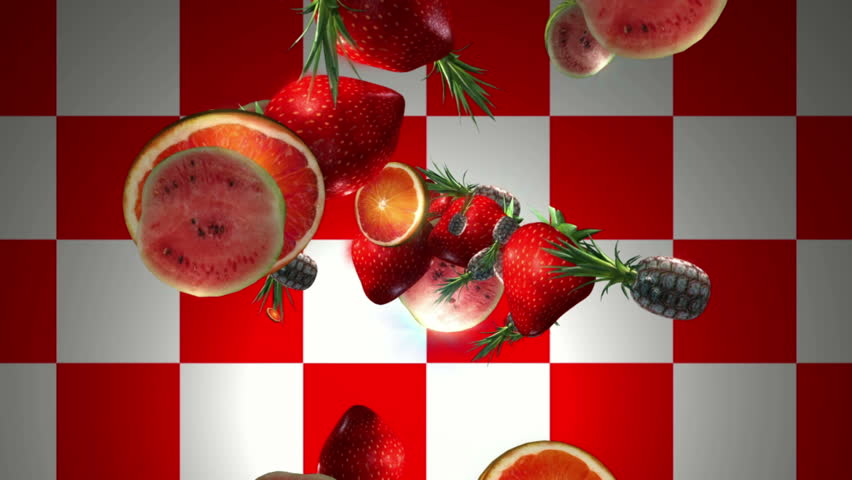 Fruits flying out of the red and white background. 3D | Shutterstock HD Video #5293478