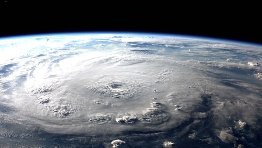 Large hurricane making landfall. (Elements furnished by NASA) #5295827