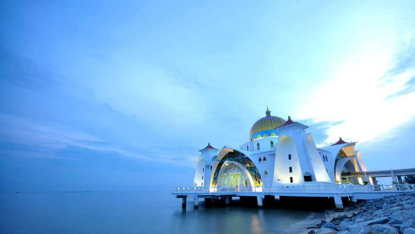 The sun sets over The Selat Melaka Mosque on September 21, 2009 at Malacca, Malaysia.