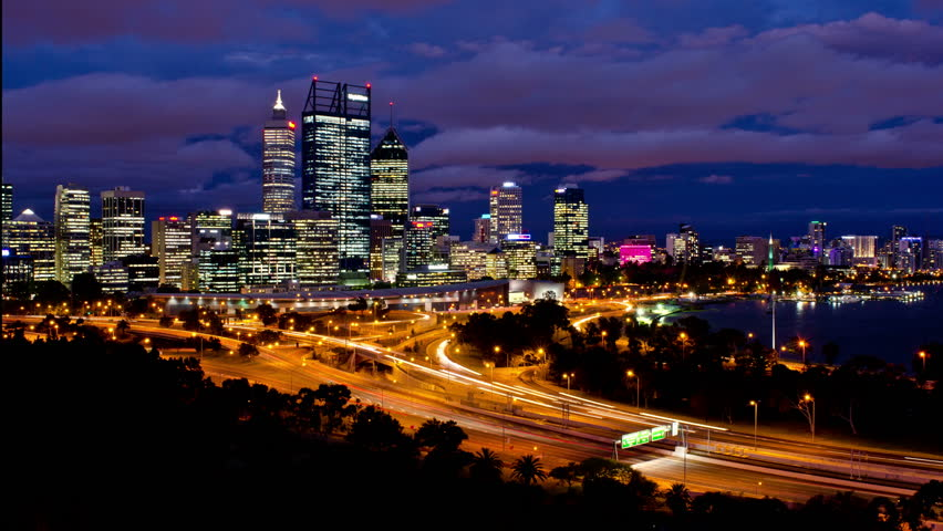 Timelapse of Perth City, Australia, as seen from King's Park, from late dusk to night time.