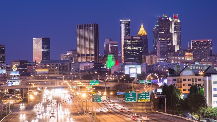 Downtown Atlanta, Georgia, USA skyline over Interstate 85.