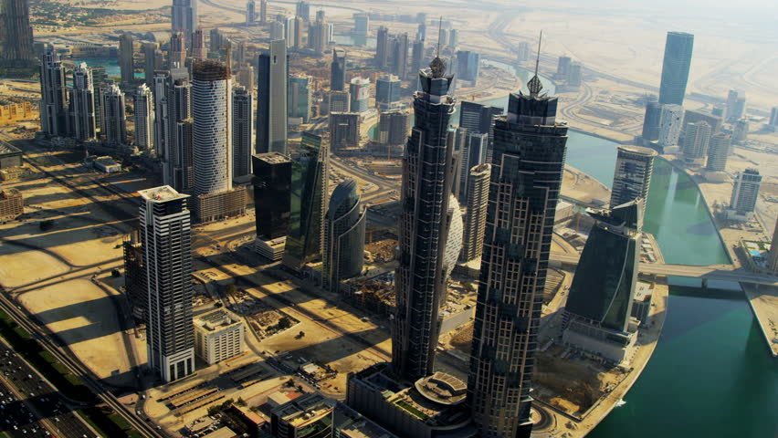 Aerial view Burj Khalifa, Dubai Creek Sheikh Zayed Road, and downtown Dubai, UAE, RED EPIC, 4K, UHD, Ultra HD resolution | Shutterstock HD Video #5313116