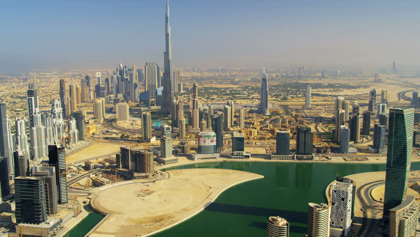Aerial view Burj Khalifa Dubai Creek and downtown Dubai, UAE, RED EPIC, 4K, UHD, Ultra HD resolution | Shutterstock HD Video #5313134