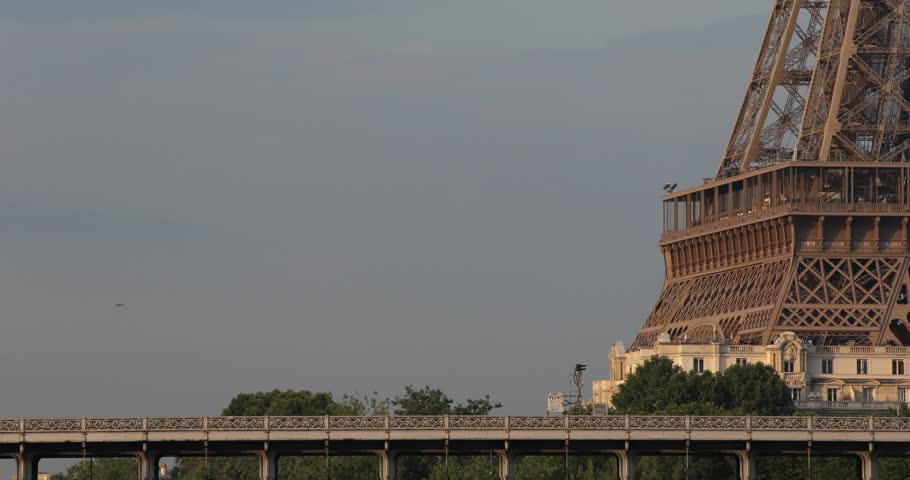 Eiffel Tower and Bir-Hakeim Bridge with RATP Metro Line Six 6 Passing Subway near the Station ( Ultra High Definition, Ultra HD, UHD, 4K, 2160P, 4096x2160 ) | Shutterstock HD Video #5329061