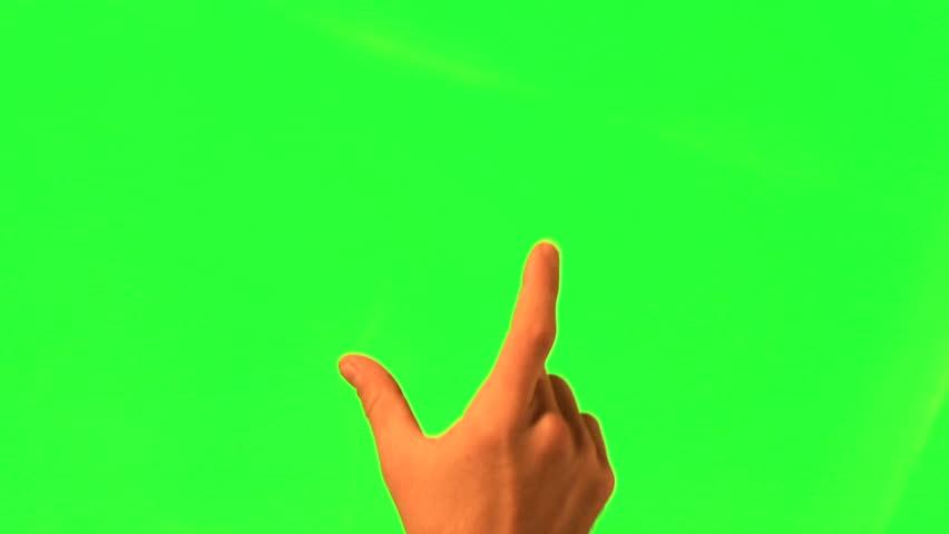 12 touchscreen gestures - male hand - green screen