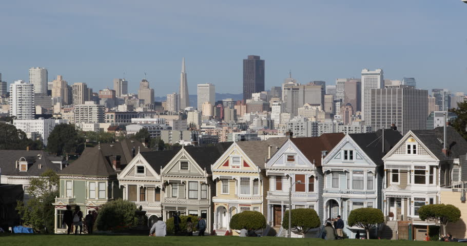 San Francisco Skyline, Famous Victorian Row Houses, Painted Ladies, Corporate Office Towers Skyscrapers by sunny day ( Ultra High Definition, Ultra HD, UHD, 4K, 2160P, 4096x2160 )