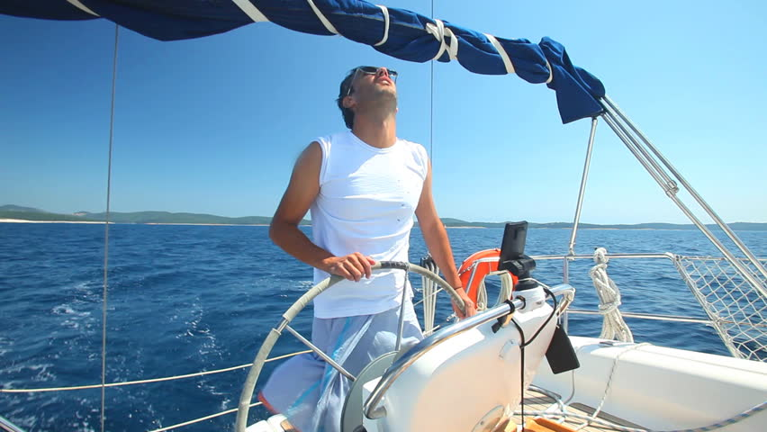 Skipper on sailing boat on Adriatic sea off the coasts of Croatia. #5361020