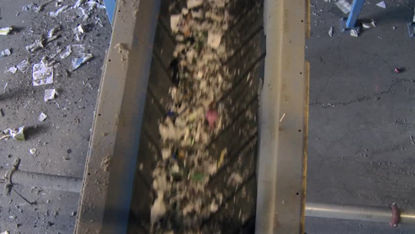 Blue conveyors transporting recyclables (3 of 4) | Shutterstock HD Video #5363957