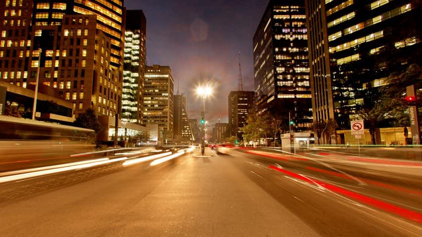 Sao Paulo Brazil - CIRCA 2013: Avenida Paulista night traffic time lapse UHD 4K | Shutterstock HD Video #5364572