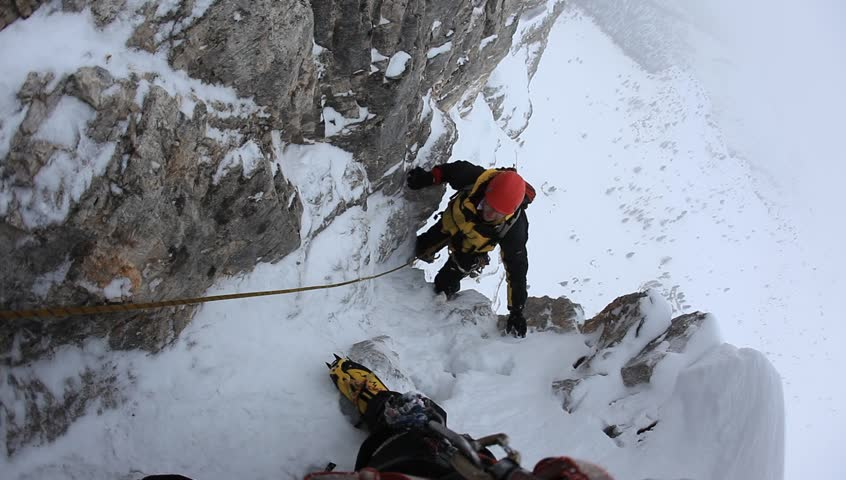 A dengerous pitch during an extreme winter climbing. Dolomiti (East Alps), Trentino, Italy, Europe. #5365415