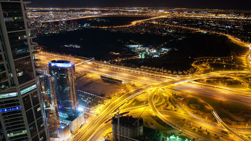 high light view on the crossroads from the roof in dubai city #5366597
