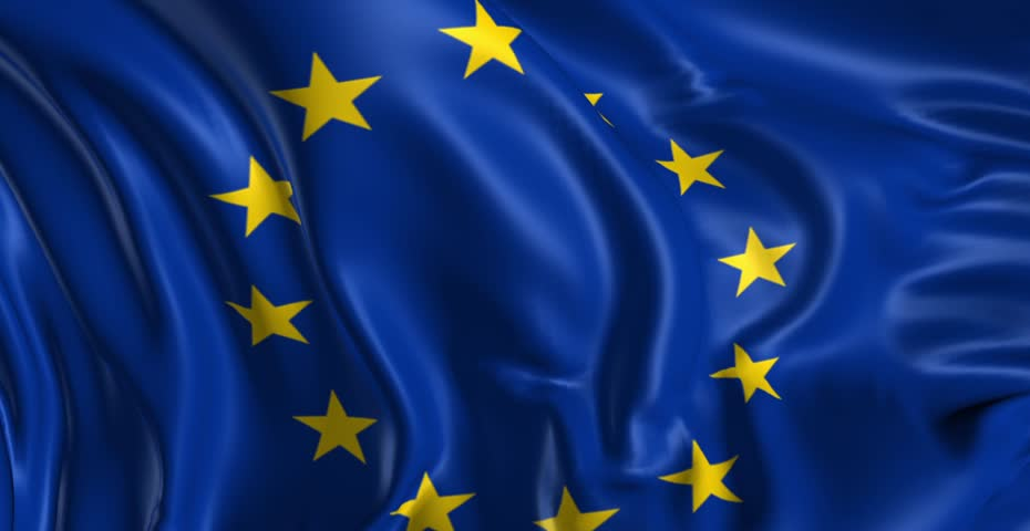 Flag of the European Union  Beautiful  3d animation of the European flag in loop mode