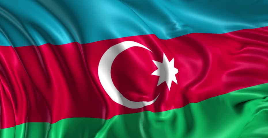 The flag of Azerbaijan.