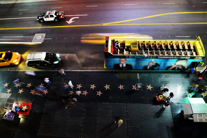4K Time Lapse of  Crowd on Hollywood Blvd. at Night