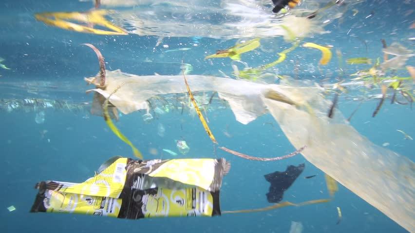 Plastic garbage and other debris floating underwater over fragile coral reef in Bunaken Island, Sulawesi #5402336