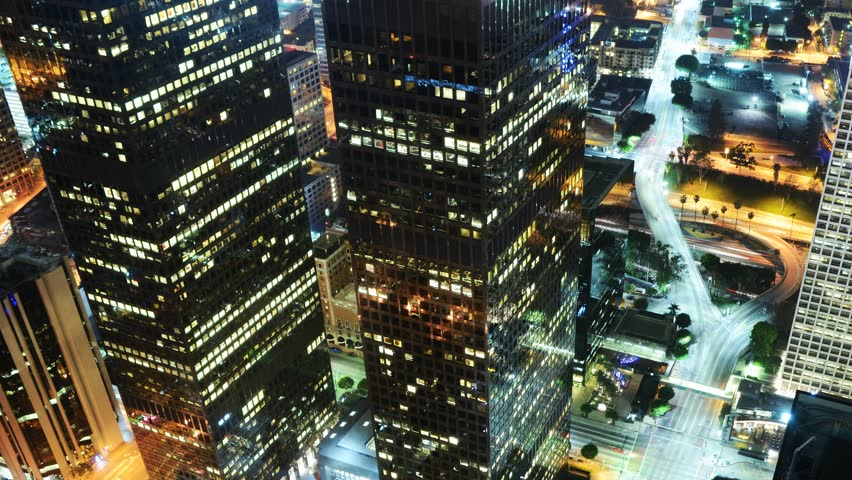 4K Night Cityscape Time Lapse of Downtown Los Angeles  | Shutterstock HD Video #5408198