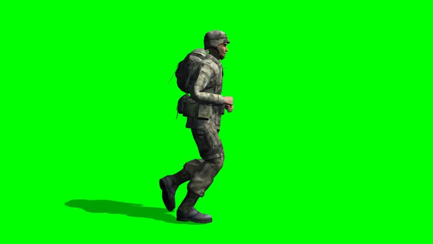 US Soldier runs - seperated on green screen